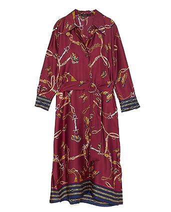 Zara Mujer Vestido Camisa con Estampado Cadenas 8127/147 S: Amazon ...