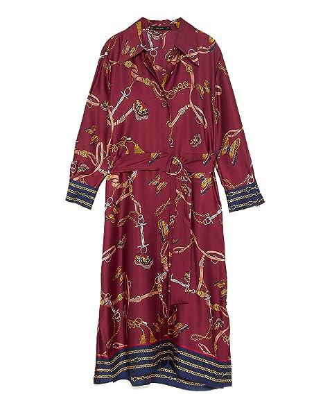 02365c6c Zara Women's Chain Print Shirt Dress 8127/147: Amazon.co.uk: Clothing