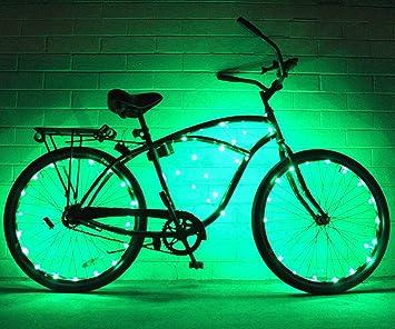 Cadena de luces de GlowRiders, para ruedas de bicicleta, con LED ultrabrillantes, pack de 2, verde: Amazon.es: Deportes y aire libre