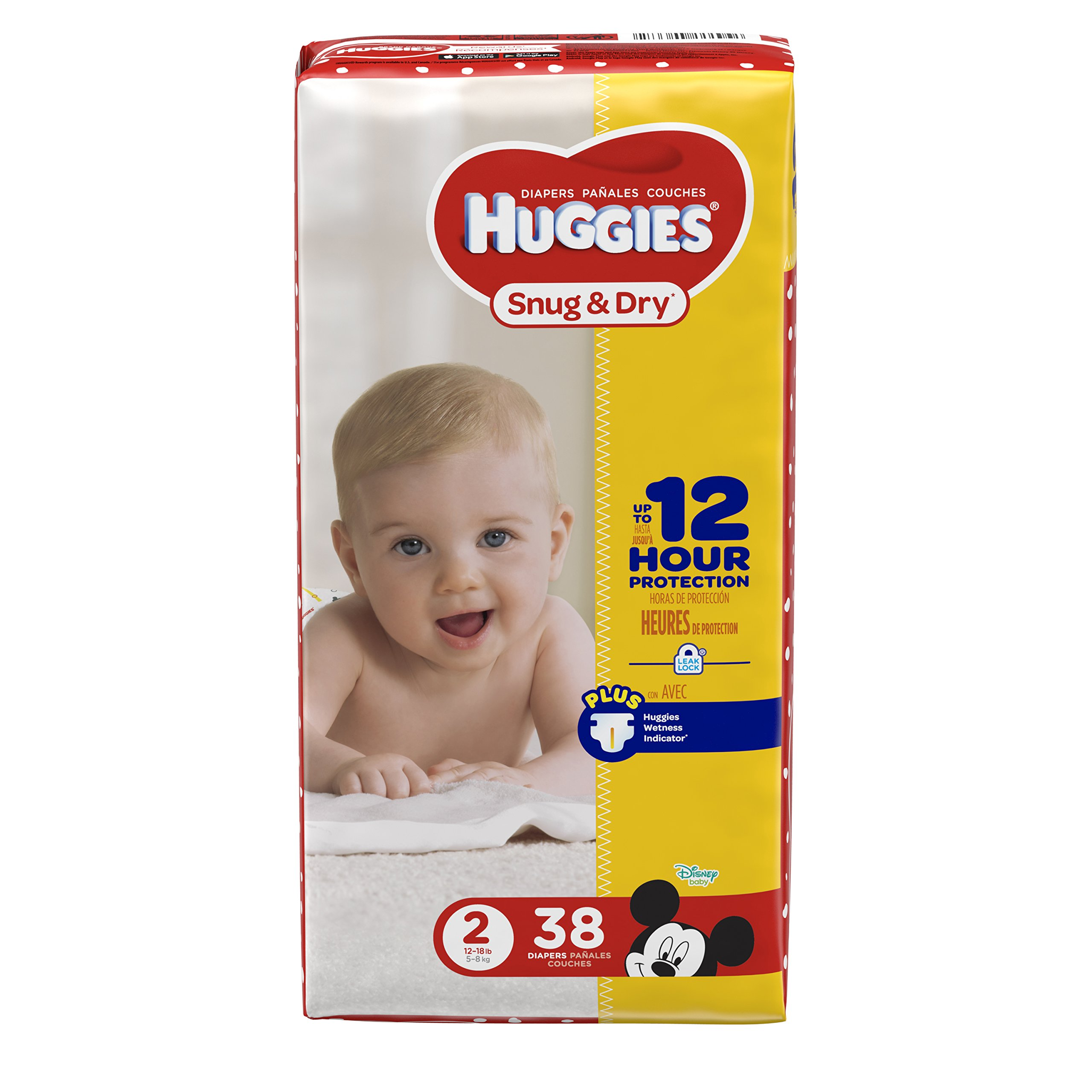 HUGGIES Snug & Dry Diapers, Size 2, 38 Count, JUMBO PACK (Packaging