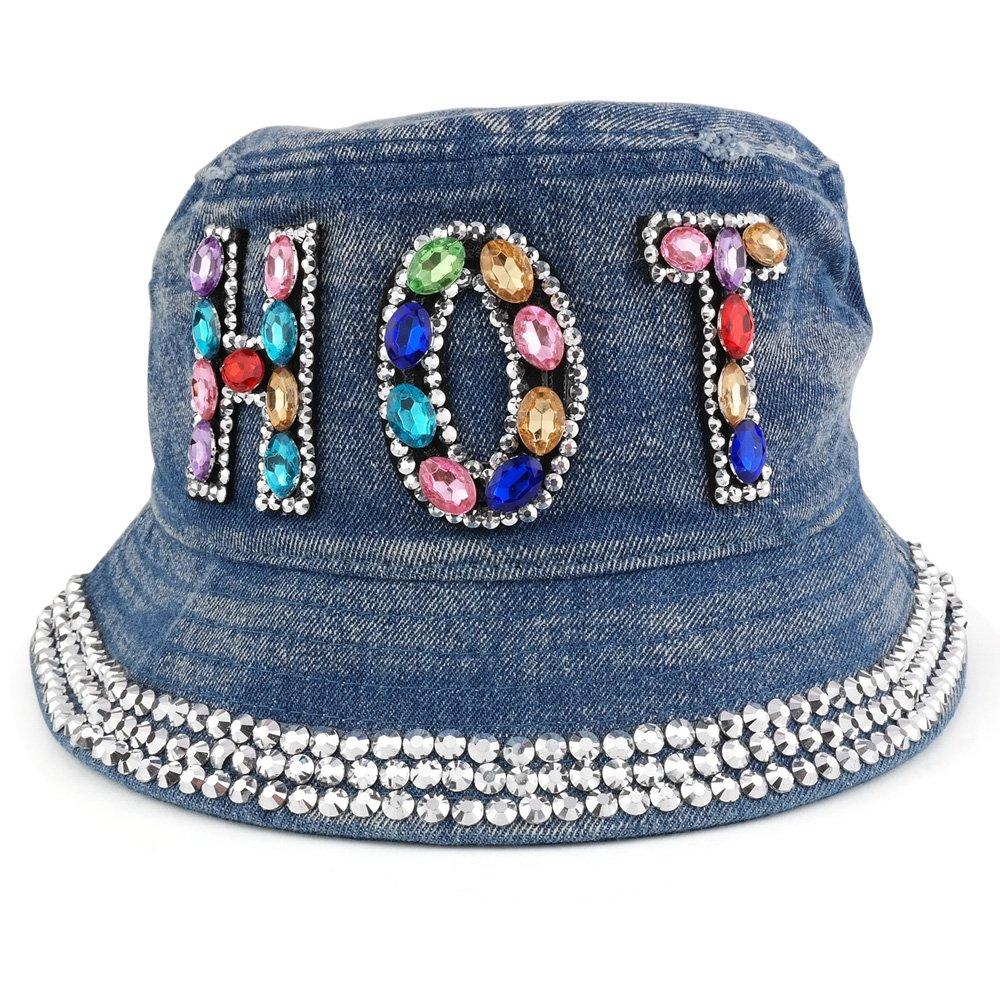 0ef0164e374 Trendy Apparel Shop Fashionable Rhinestone Jeweled Bling Bling Design Logo  Bucket Hat - Hot - Light Denim