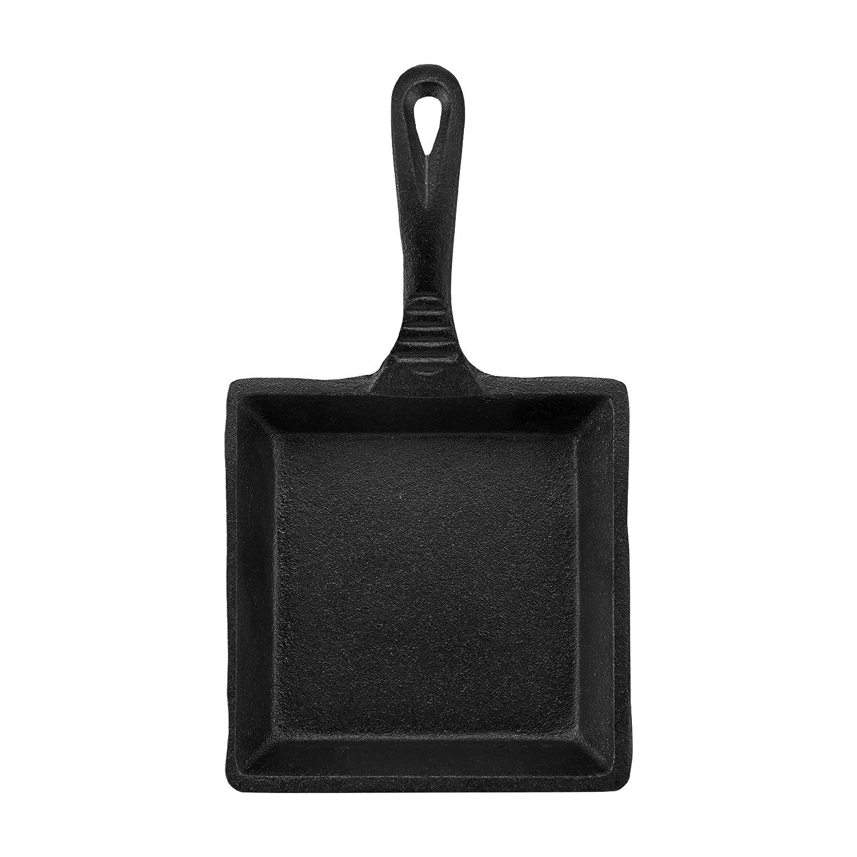 CasaModa 5178396 Pre-Seasoned Cast Iron Mini Square Fry Pan, 5-Inch