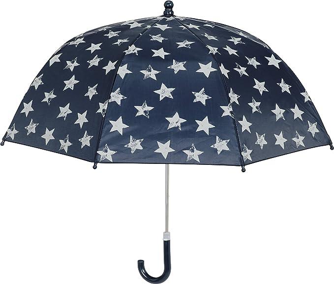 Playshoes Kinder Regenschirm Sterne, Paraguas para Niñas, Azul (Marine 11), Talla