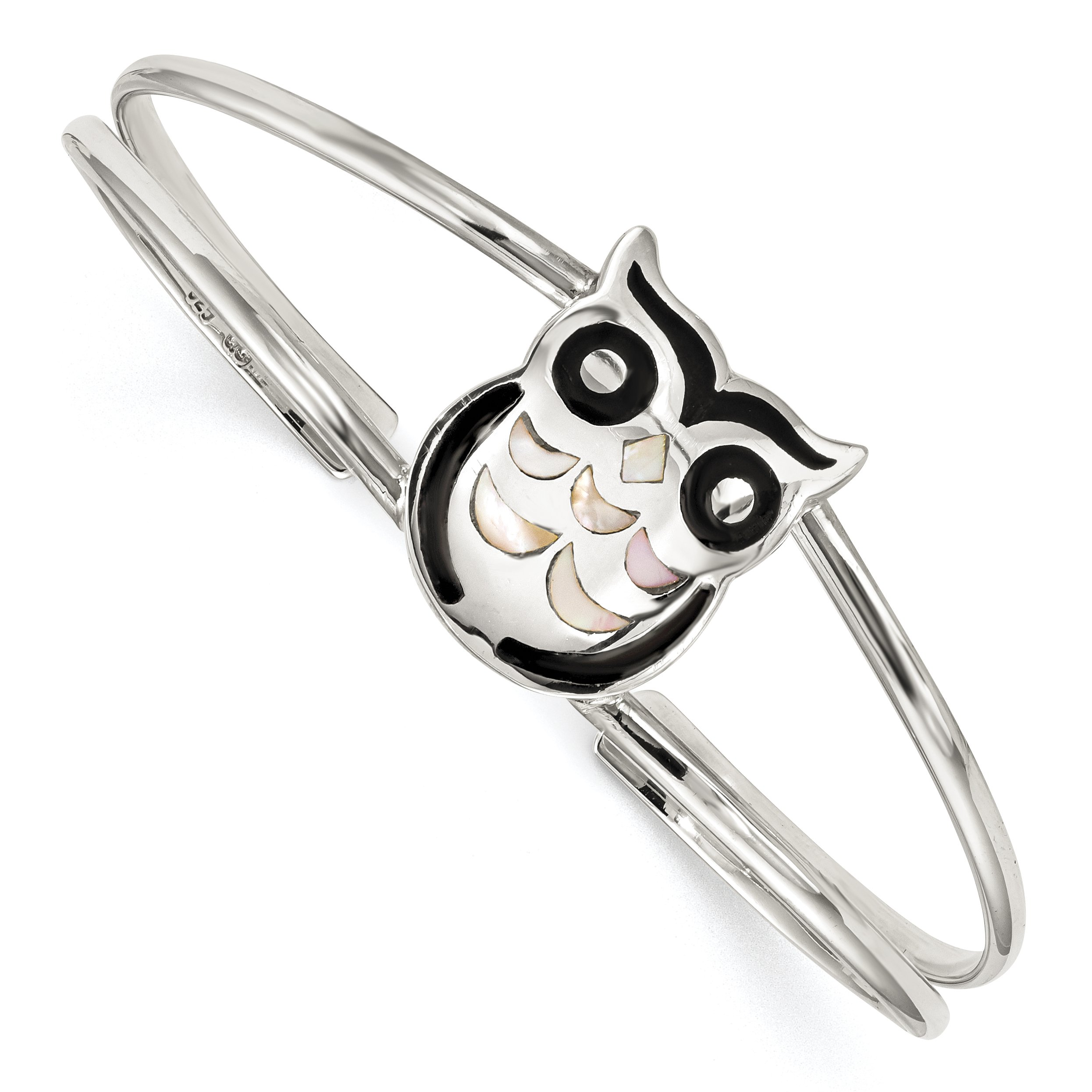 Mother of Pearl and Onyx Owl Bangle Bracelet in 925 Sterling Silver 4.8 mm