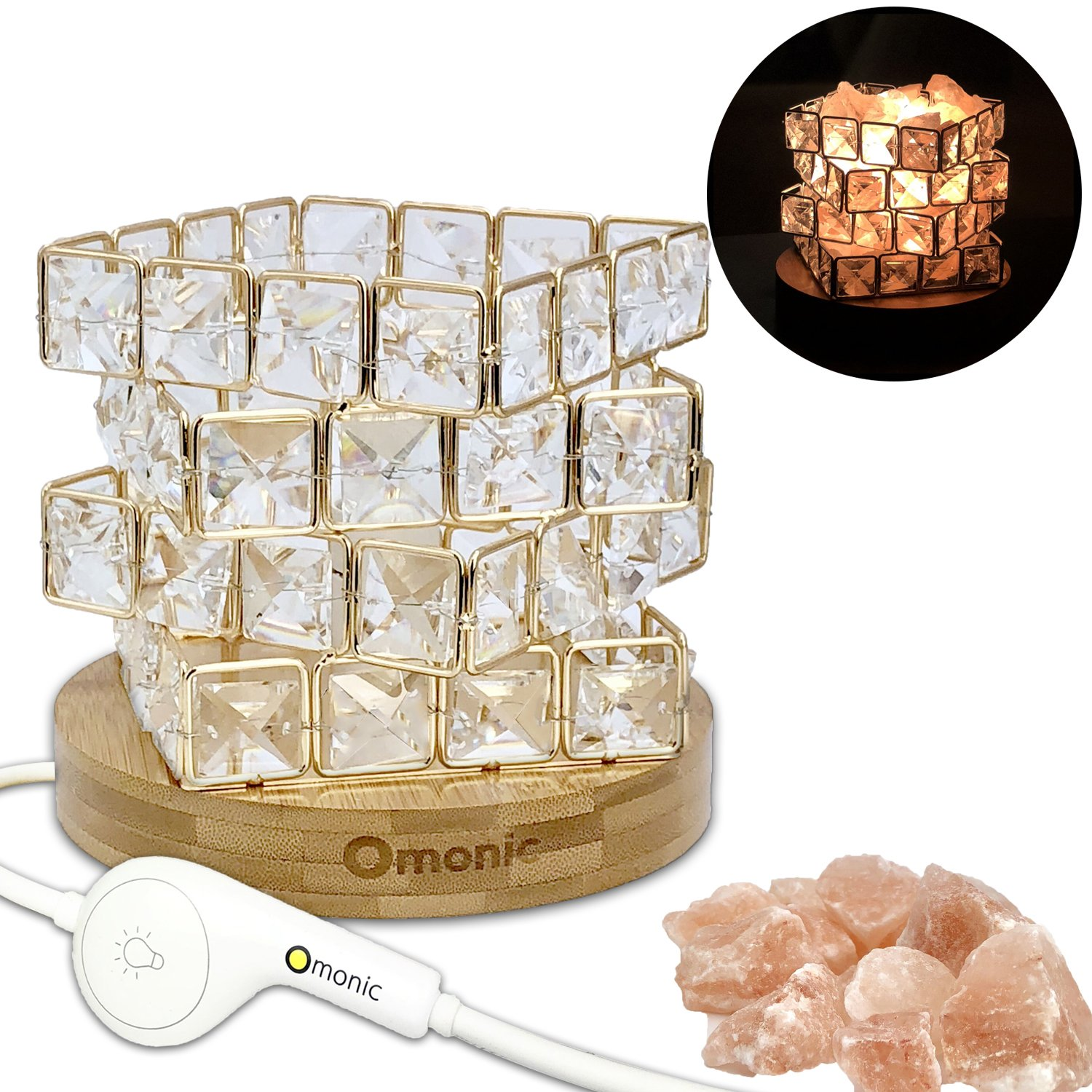 Best Gift, Luxury Mosic Glass Crystal Basket Cube Fire Bowl Pink Himalayan Salt Lamp Crystal Chunks Table Desk Lamp Light Night Light Lights Touch Dimmer Switch Control with Bamboo Base