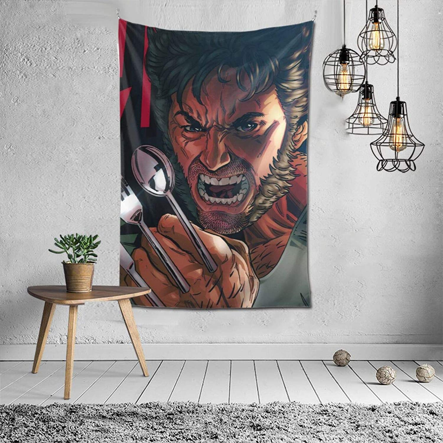 Rainbow Fart Tapestry Wolverine Spoon Claws Tapestries Large Wall Decor Art Hanging Home Decorations Dorm Psychedelic Blanket for Bedroom Living Room Multi-Color 60x40inch