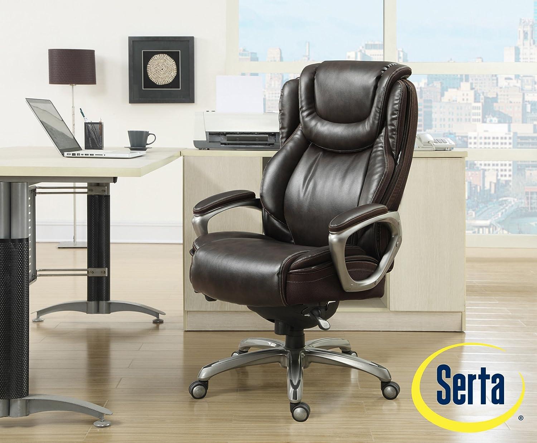 Amazon.com: Serta Big And Tall Smart Layers Premium Elite Foam Harmony  Executive Office Chair, Brown: Kitchen U0026 Dining