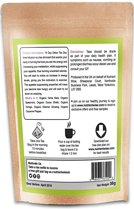 NUTRIENT WISE-Detox Green Tea- Best Organic Herbal Slimming Diet  Supplements For Weight Loss - Cleanse