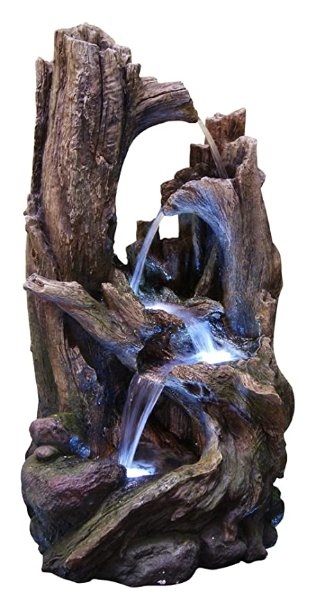 Amazon alpine win786 tree trunk fountain with led lights alpine win786 tree trunk fountain with led lights large workwithnaturefo
