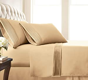 Southshore Fine Living, Inc. Vilano Pleats - 21 Inch Extra Deep Pocket, 3-Piece Bed Sheet Set, Twin, Gold