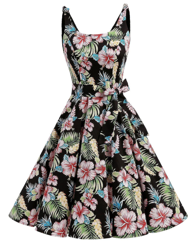 TALLA XS. Bbonlinedress Vestidos de 1950 Estampado Vintage Retro Cóctel Rockabilly con Lazo Black Flower XS