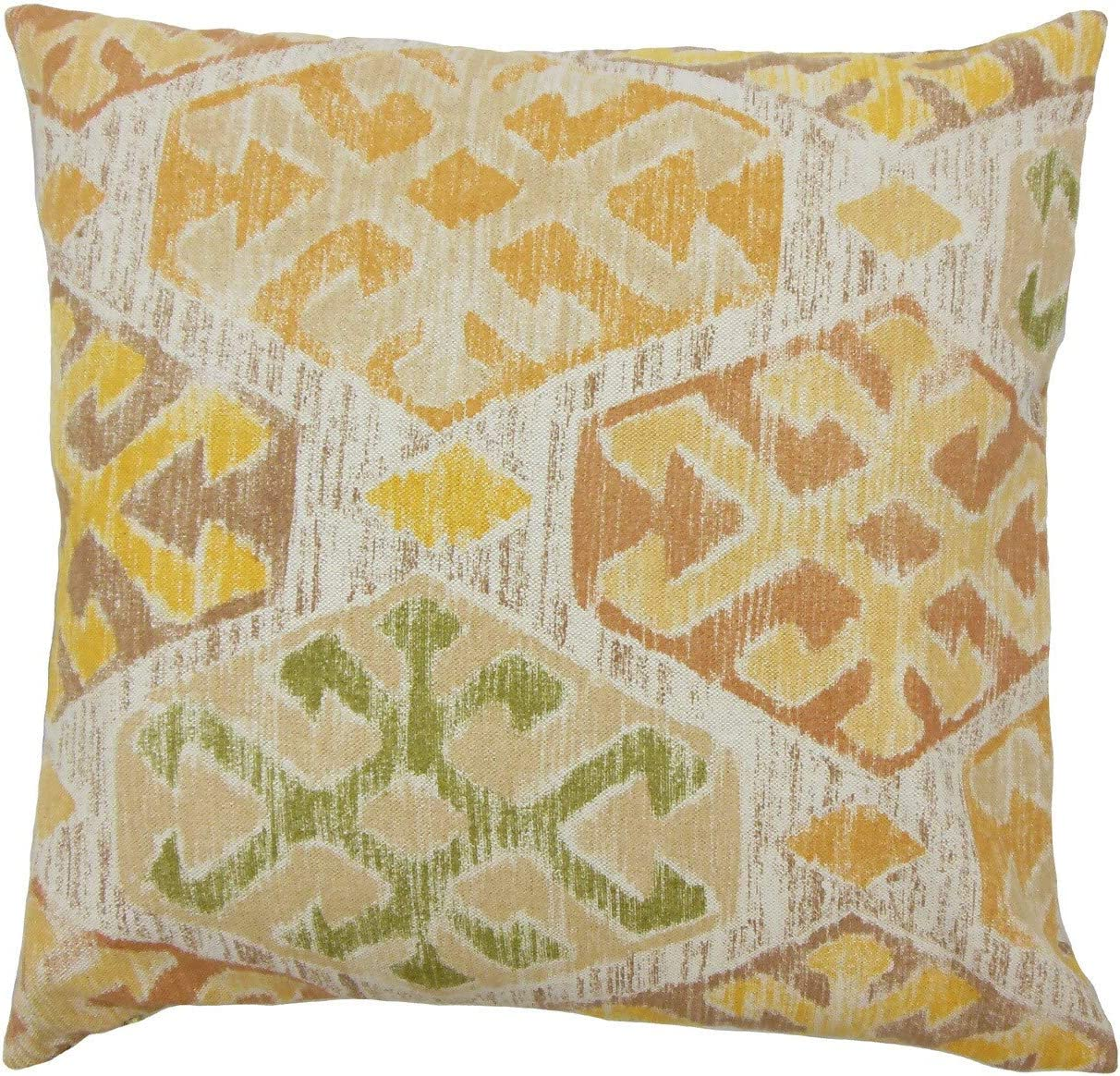 Amazon Com The Pillow Collection Galen Ikat Gold Down Filled Throw Pillow Home Kitchen