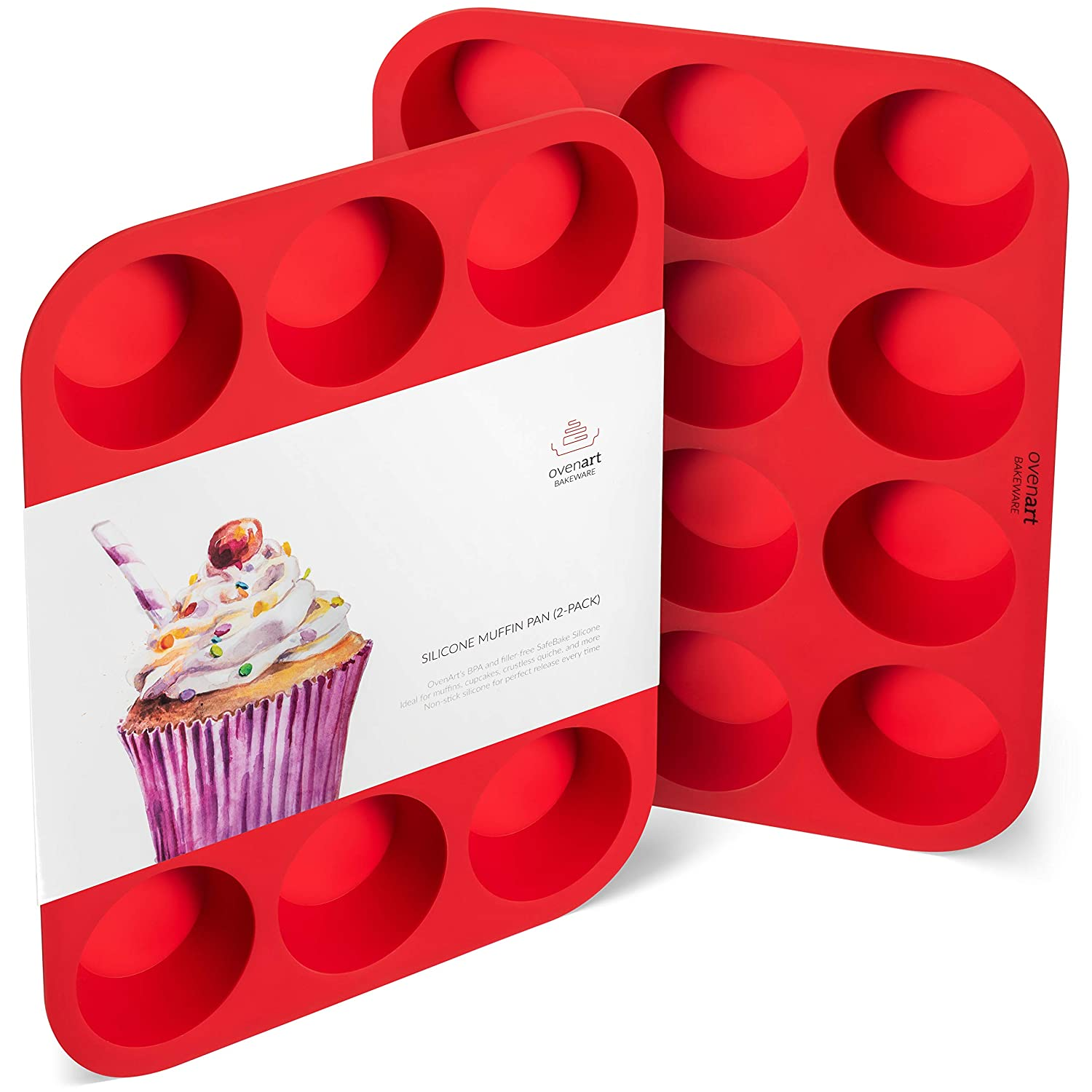 OvenArt Bakeware European LFGB Silicone Muffin Pan, 12-Cup, Red, 2-Pack