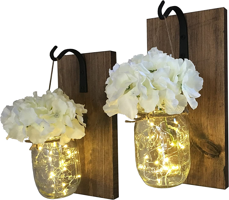 Wrought Iron Hooks Set of 2 Rustic Hanging Mason Jar Sconces Hanging Lighted Mason Jar Wall Sconces