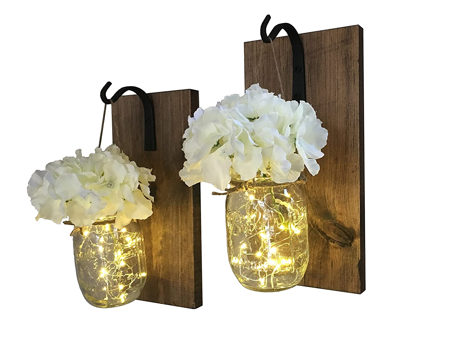 Rustic Hanging Mason Jar Sconces with LED Fairy Lights, Mason Jar Lights, Wrought Iron Hooks, Silk Hydrangea Flower, LED Strip Lights with Batteries Included, Rustic Home Decor (Set of 2)