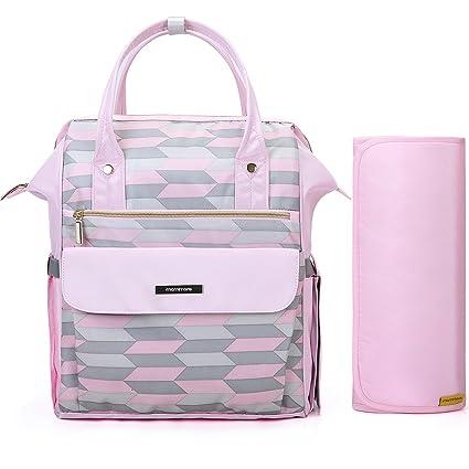 mommore Fashion mochila bolso cambiador pañales bolsa con cambiador para el cuidado del bebé rosa rosa