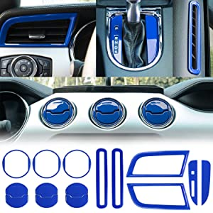 Danti Car Interior Accessories Decoration Console Central & Car Door & Dash Board Side Air Conditioner Outlet Vent, Shift Gear Box Switch Button Cover Trim For 2015-2019 Ford Mustang (Blue)