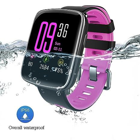 Reloj inteligente con Pulsómetro, Impermeable IP68 reloj deportiva Inteligente, Fitness Tracker con Monitor de sueño, ...