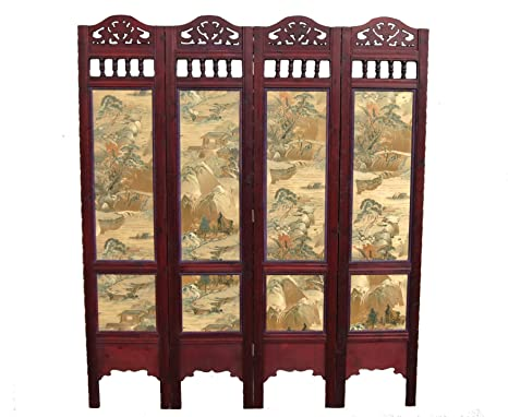 Oriental Style Wooden Carved Screen/Room Divider  Feng Shui  11572:  Amazon.co.uk: Kitchen U0026 Home