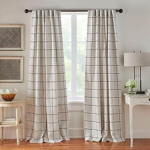 Elrene Home Fashions Brighton Windowpane Plaid Grid Blackout Window Curtain Panels/Drape