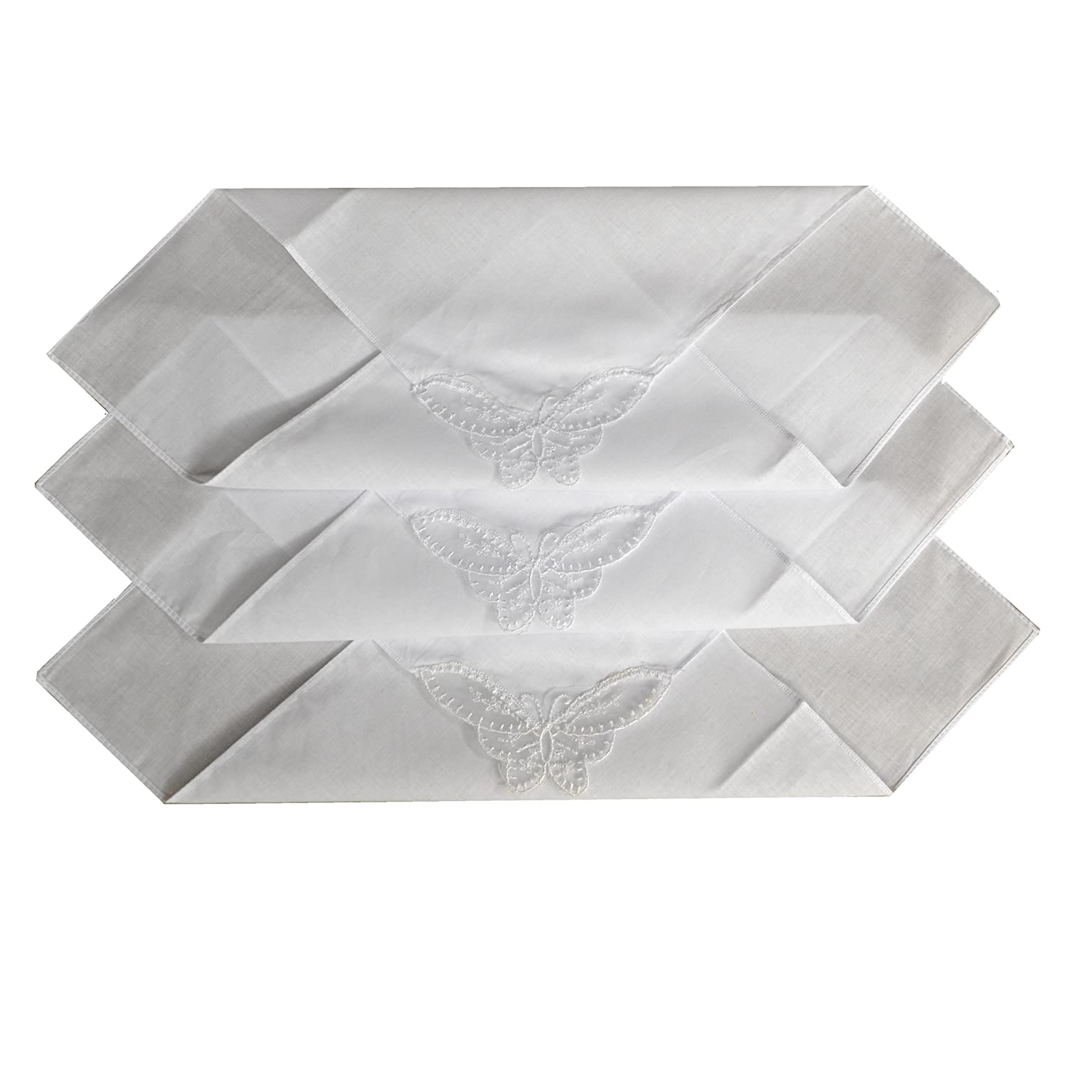 12 Ladies Plain White Handkerchief With A Butterfly Lace Corner