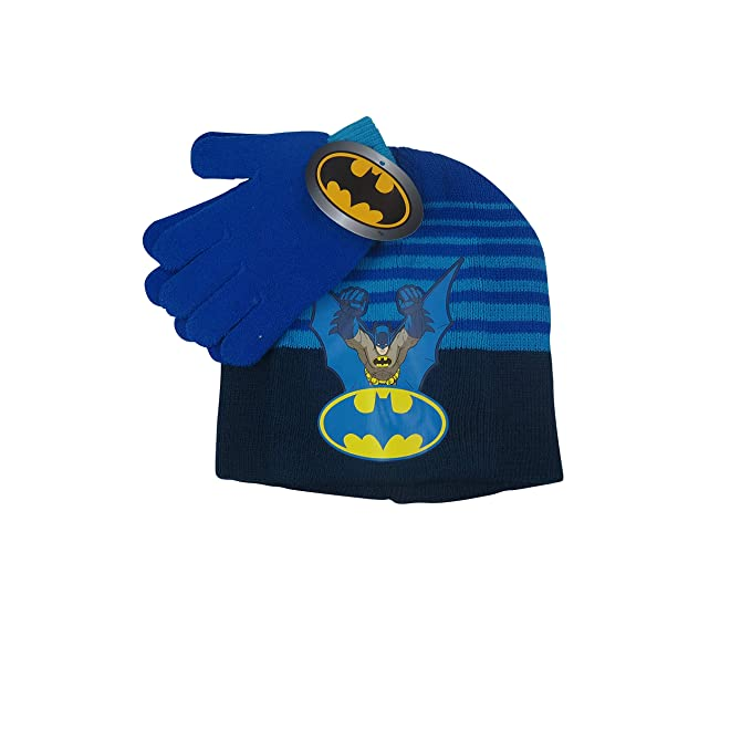 ae90e736cb3 KIDS COMIC SUPERHERO LICENSED BEANIE BOYS WINTER HAT   GLOVE SETS (Batman  Blue)