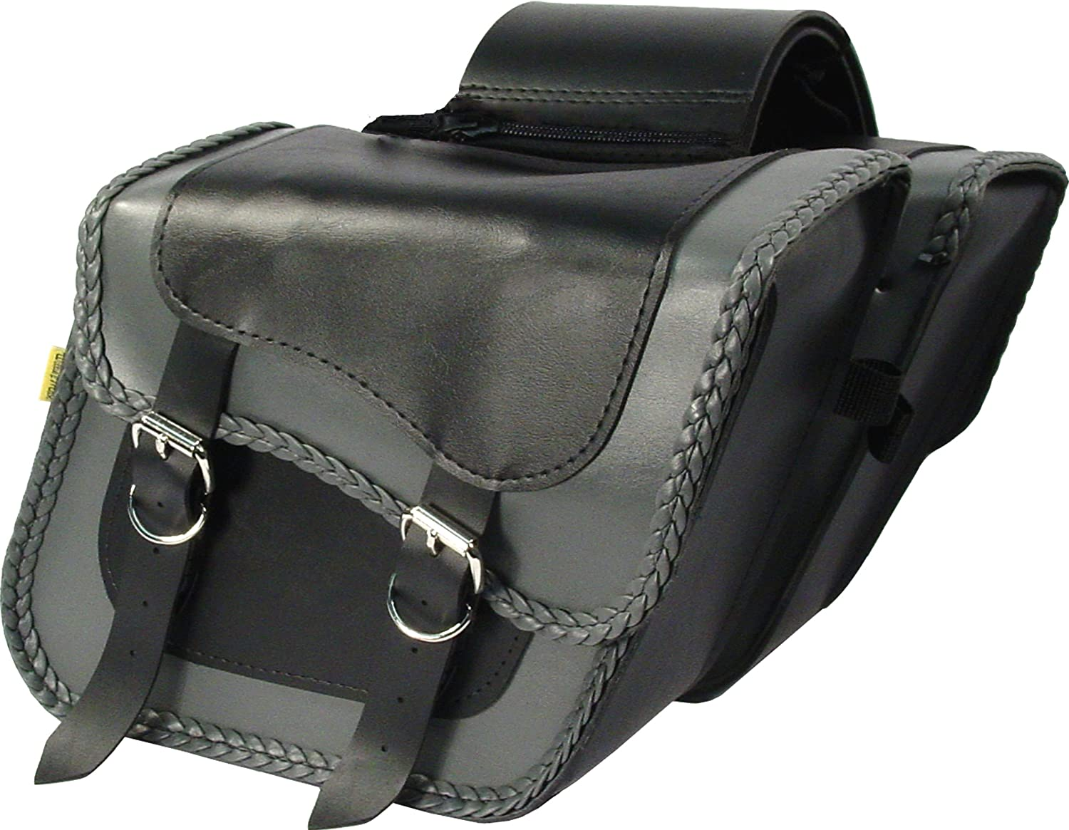 Black and Grey Dowco Willie /& Max 58705-20 Thunder Series: Synthetic Leather Standard Slant Motorcycle Saddlebag Set 10 Liter Each//20 Liter Total Capacity Universal Fit