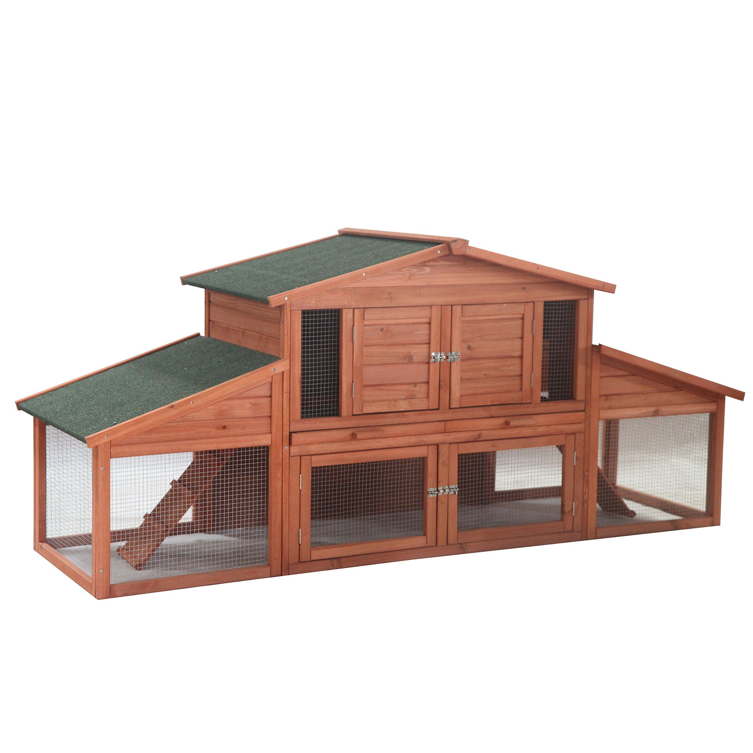 ALEKO ACCRH91X28X39 Wooden Pet House Chicken Coop Rabbit Hutch 91 x 28 x 39 Inches