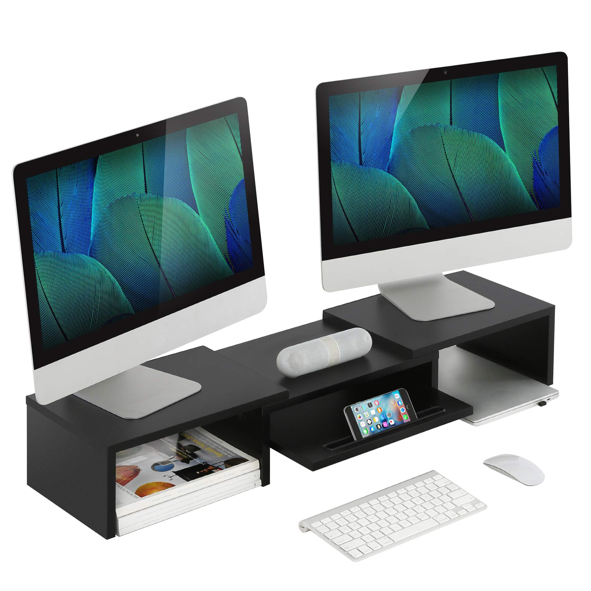 Adjustable Wood Dual Monitor Stand Riser with Pull Out Storage Drawer, 2 Tier Monitor Riser for Computers, Laptops, Printers,Desk Organizer,Black by Homury