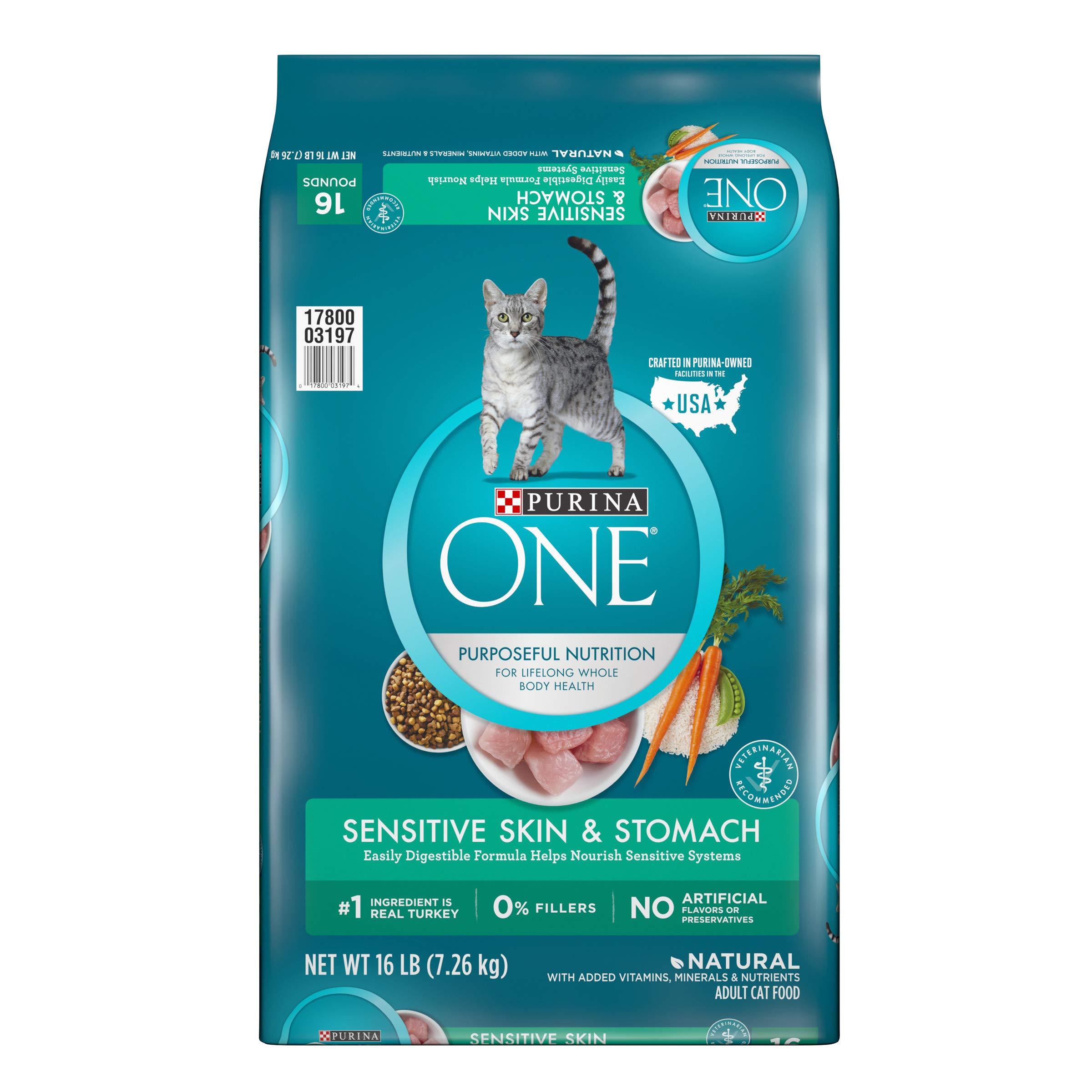 Purina ONE Sensitive Stomach, Sensitive Skin, Natural Dry Cat Food; Sensitive Skin & Stomach Formula - 16 lb. Bag