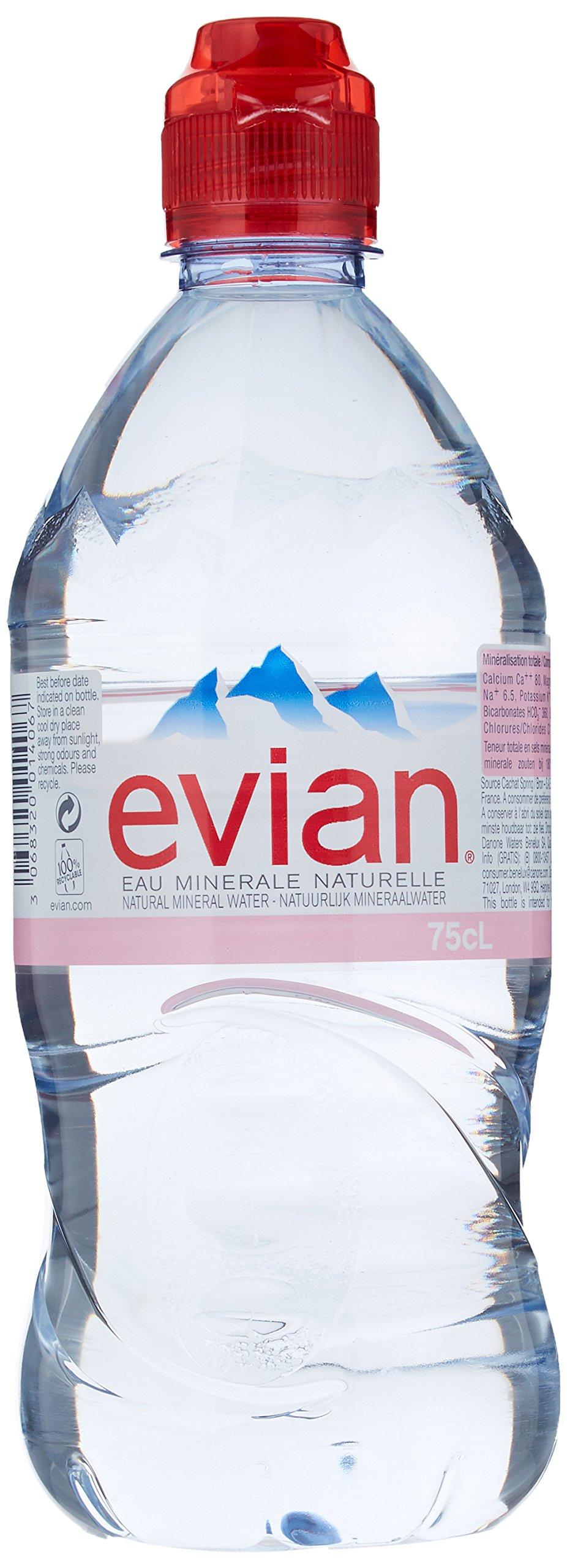 Evian Sportscap Mineral Water 12 Bottles 750 ml (Pack of 2, Total 24 Bottles)