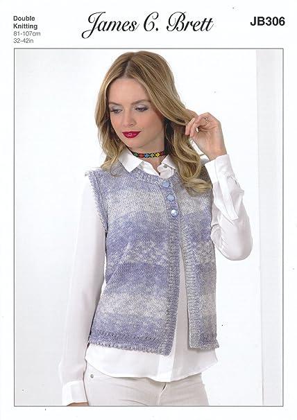 James Brett Double Knitting Pattern Womens Ladies Waistcoat Cotton