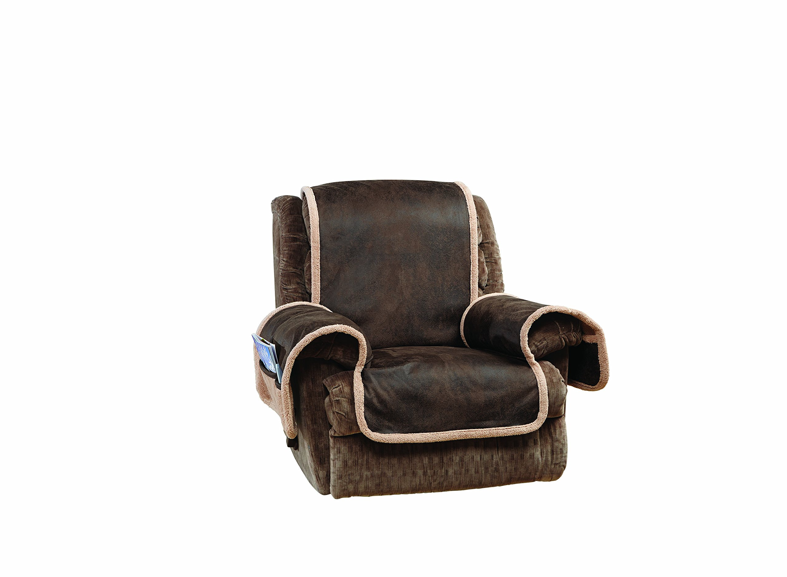 Sure Fit Vintage Faux Leather - Recliner Slipcover - Brown (SF44903) by Surefit