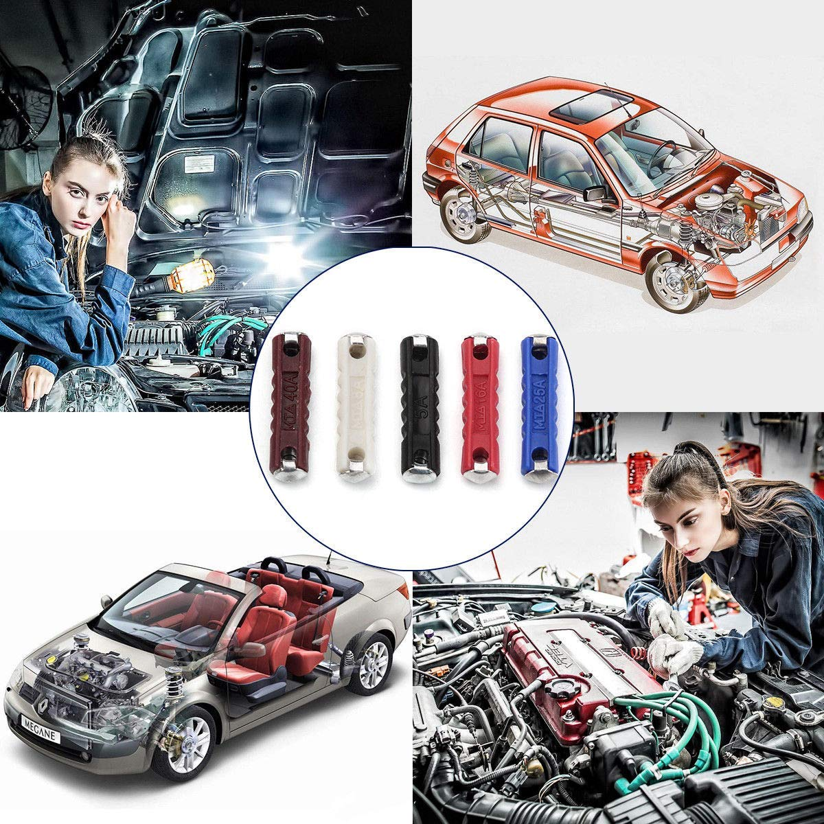 200 pcs Continental Car Fuses Fuses Replacement Kit Box Torpedo Type Sets For Vintage Classic Cars Old Style