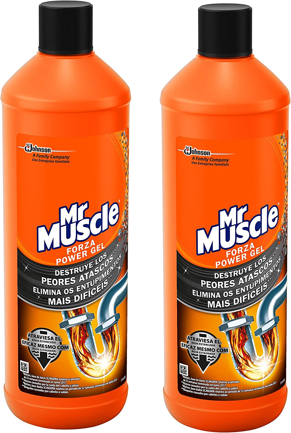 Mr Muscle - Forza Desatascador Gel Power, limpia tuberias, 2 Unidades 2000 ml: Amazon.es: Salud y cuidado personal