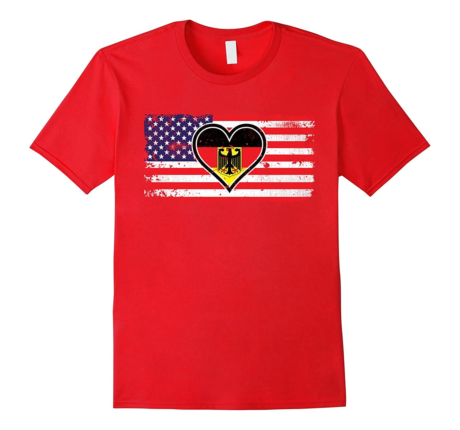Amdesco American Flag With German Heart Flag Shirt-TH