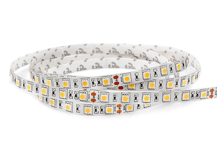 LEDMY Flexible Led Strip Lights UL(E477884) DC 24V 72W SMD5050 300LEDs IP20 Not Waterproof Led Tape Light Daylight White 4000K 5Meter/ 16.4Feet Using for Gardens, Homes, Kitchen, Car and Bar