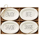 Mud Pie Bistro Plates (Set of 4), White