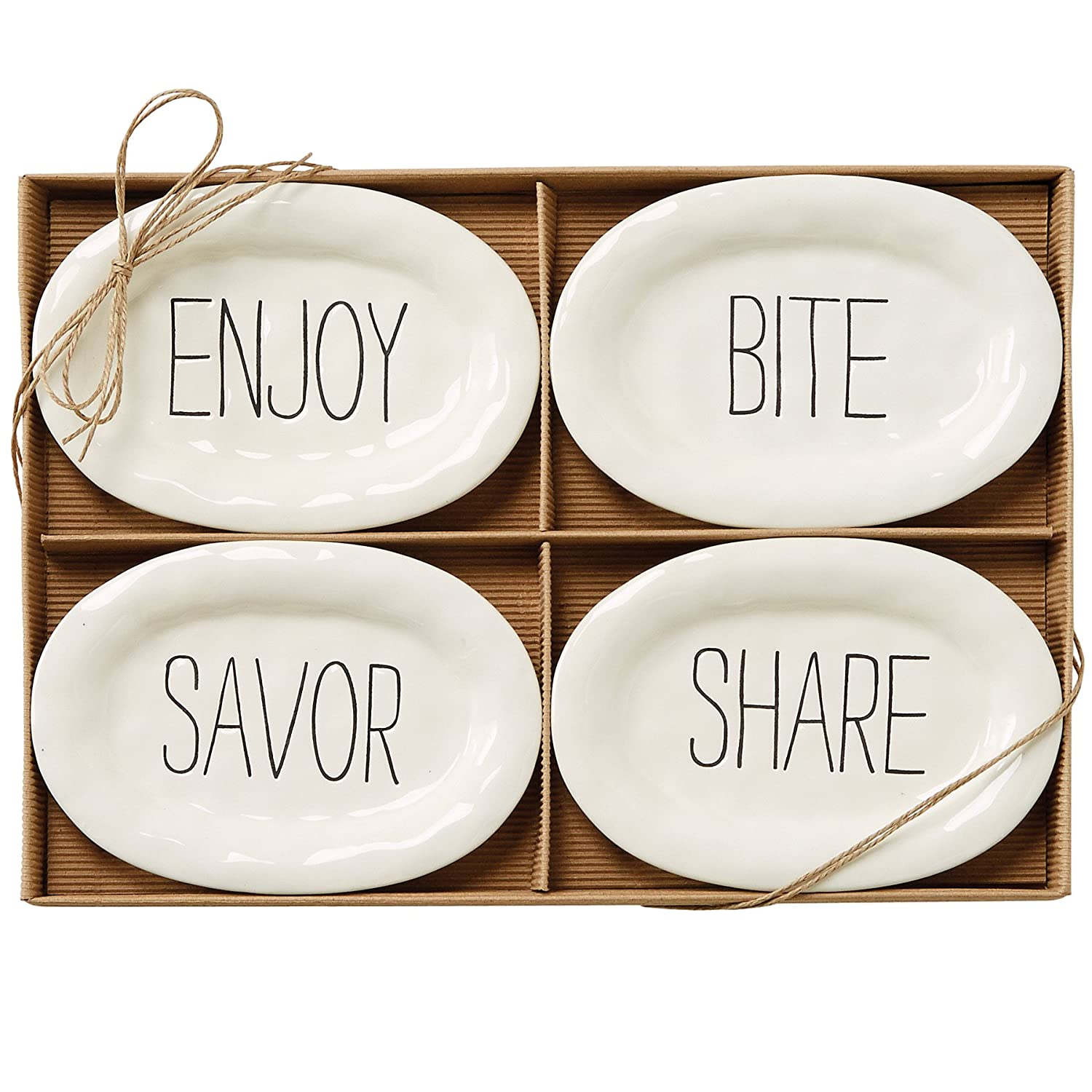 Mud Pie Bistro Plates (Set of 4), White 4854031