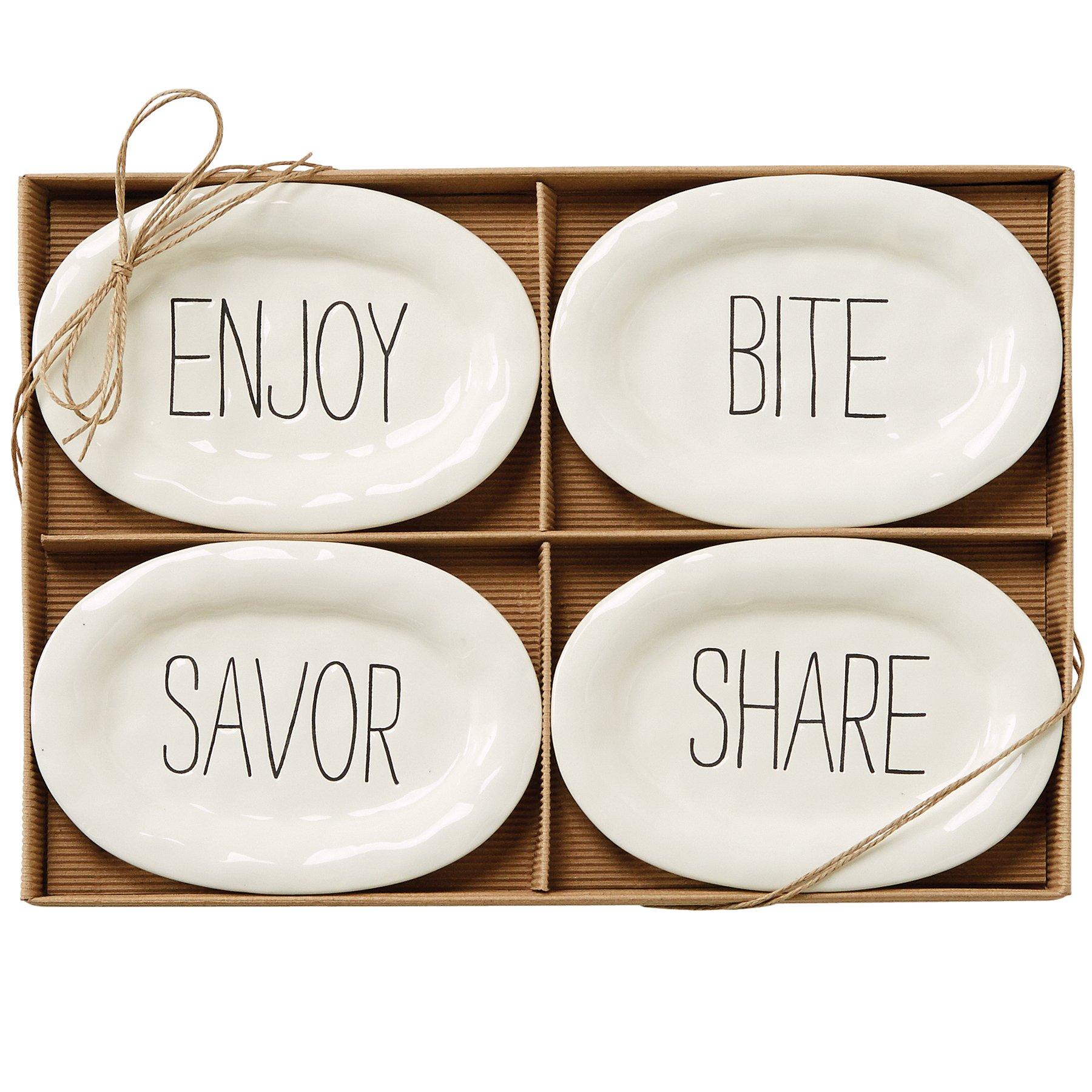 Mud Pie Bistro Plates (Set of 4), White