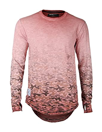 9ba988e40a3 ZIMEGO Men s Long Sleeve Camouflage Longline Round Bottom Oil Wash T-Shirts  (Small