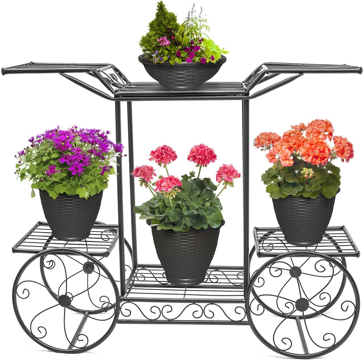 Sorbus Garden Cart Stand & Flower Pot Plant Holder Display Rack, 6 Tiers, Parisian Style - Perfect for Home, Garden, Patio (Black) by Sorbus