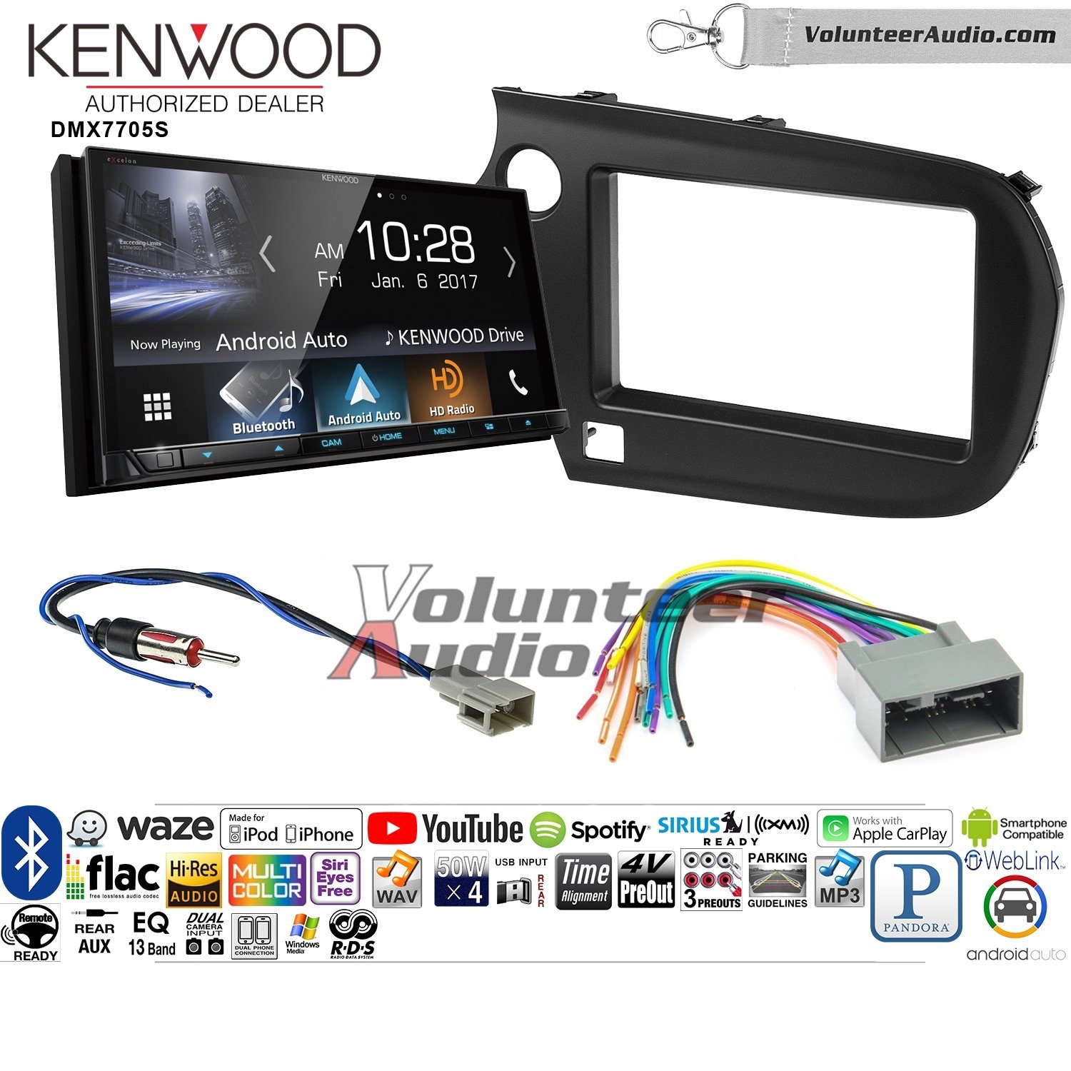 Volunteer Audio Kenwood DMX7705S Double Din Radio Install Kit with Apple CarPlay Android Auto Bluetooth Fits 2009-2011 Honda Pilot