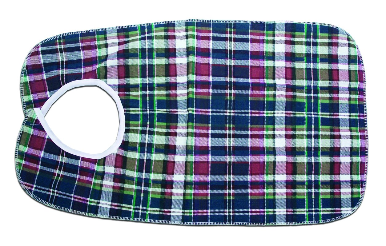 Essential Medical Supply Deluxe Plaid Bib with Vinyl Protective Barrier, 18 inch X 30 inch, 12 Count