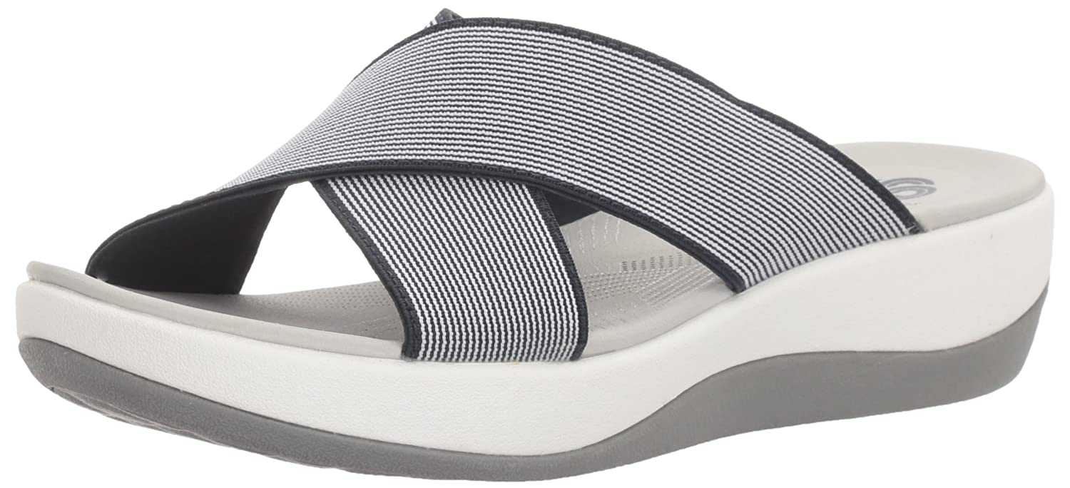 Navy  White Elastic Clarks Women's Arla Elin Sandals