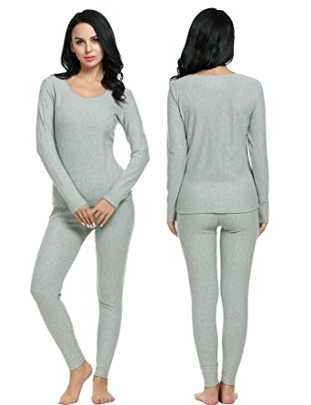 Goodfans Womens Thermal Underwear Long Sleeve Base Layering Set Pajamas Set