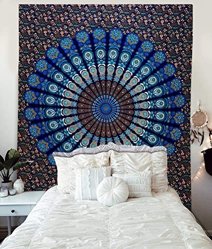 King Blue Mandala Tapestry Indian Hippie Bohemian Psychedelic Peacock Wall Hanging Bedding Green Tapestries Boho Flower Dorm Decor Art Living Room Bedroom Floral Meditation Sheet Home Throw Bedspread
