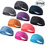 Set of 5 and 10 Women's Yoga Sport Athletic Headband Sweatband For Running Sports Travel Fitness Elastic Wicking Non Slip Style Bandana Basketball Headbands Headscarf fits all Men & Women
