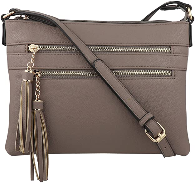 B BRENTANO Vegan Multi-Zipper Crossbody Handbag Purse with Tassel Accents (Stone.)