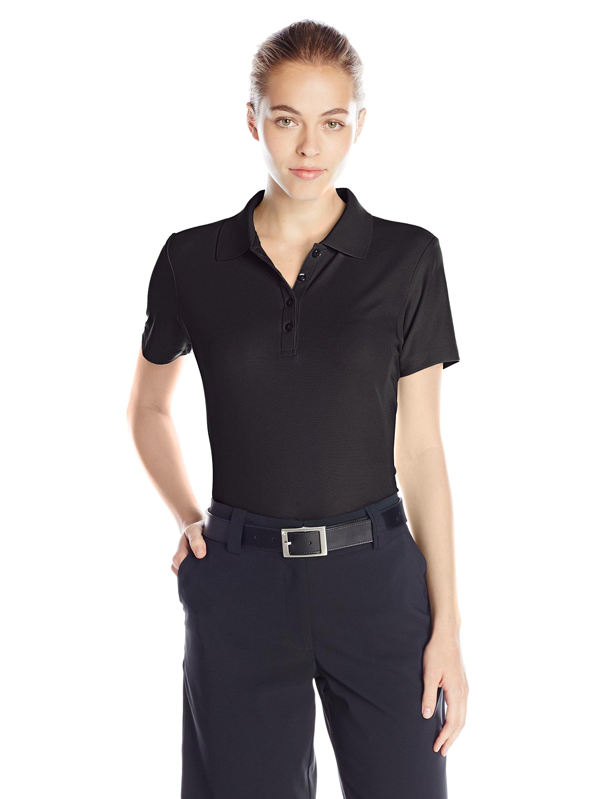 Greg Norman Women's Protek Micro Pique Short Sleeve Polo, Black, X-Small